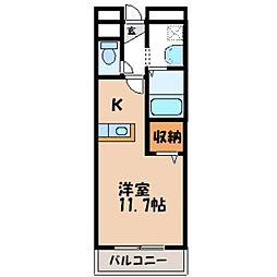 茨城県筑西市乙の賃貸マンションの間取り