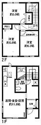 [テラスハウス] 神奈川県横浜市緑区長津田みなみ台6丁目 の賃貸【/】の間取り