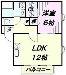 埼玉県狭山市広瀬3丁目の賃貸アパートの間取り