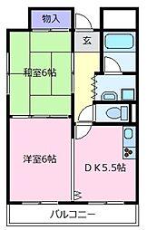 大阪府松原市上田3丁目の賃貸マンションの間取り