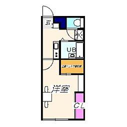 レオパレス泉南ウィロー 2階1Kの間取り