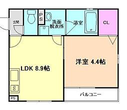阪急京都本線 南方駅 徒歩7分の賃貸マンション 1階1LDKの間取り