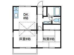 神奈川県海老名市河原口2丁目の賃貸アパートの間取り