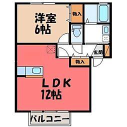 栃木県宇都宮市陽東5の賃貸アパートの間取り