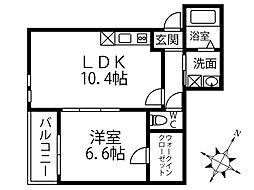 JR阪和線 鳳駅 徒歩9分の賃貸アパート 1階1LDKの間取り
