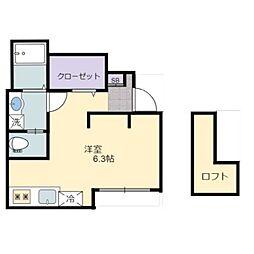 あんしん日置荘西町08-2012 1階ワンルームの間取り