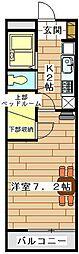 東武東上線 東松山駅 徒歩18分の賃貸アパート 2階1Kの間取り