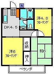 コーポ橋戸A[2階]の間取り