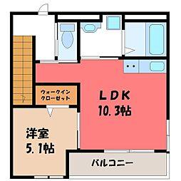 JR東北本線 宇都宮駅 バス30分 野高谷下車 徒歩10分の賃貸アパート 2階1LDKの間取り