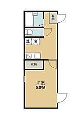 西武多摩湖線 一橋学園駅 徒歩4分の賃貸アパート 1階1Kの間取り