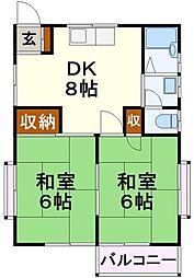 コーポ・サエキ 2階2DKの間取り