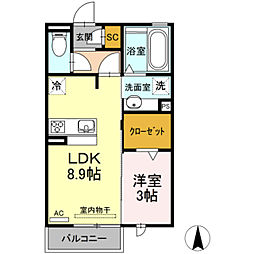 セジュール潮崎 2階1LDKの間取り