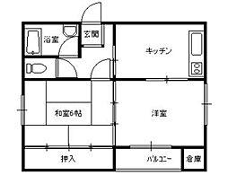 城西アパート[101号室]の間取り