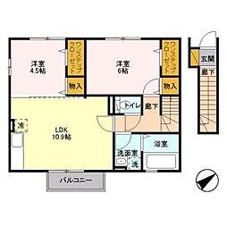 JR中央線 立川駅 バス30分 武蔵村山高校南下車 徒歩5分の賃貸アパート 2階2LDKの間取り