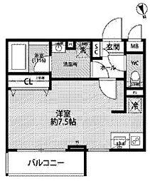 JR中央線 西荻窪駅 徒歩11分の賃貸マンション 1階ワンルームの間取り