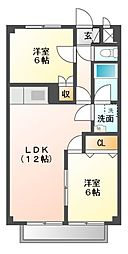 愛知県岡崎市中園町字前河原の賃貸アパートの間取り