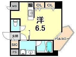 阪神本線 西宮駅 徒歩7分の賃貸マンション 7階ワンルームの間取り