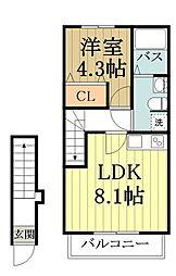 セレーノI・II 2階1LDKの間取り