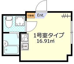 シンエンライト立川 3階ワンルームの間取り