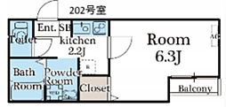 東武東上線 鶴ヶ島駅 徒歩4分の賃貸アパート 2階1Kの間取り