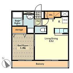 京王高尾線 狭間駅 徒歩14分の賃貸マンション 3階1LDKの間取り