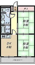 大阪府堺市堺区熊野町東4丁の賃貸マンションの間取り