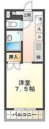 名鉄三河線 豊田市駅 バス13分 宮口一色下車 徒歩7分の賃貸マンション 2階ワンルームの間取り