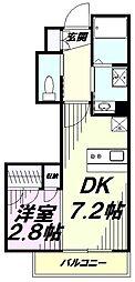JR中央線 八王子駅 徒歩10分の賃貸マンション 3階1DKの間取り