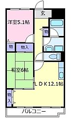 近鉄南大阪線 高鷲駅 徒歩10分の賃貸マンション 5階2LDKの間取り