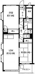 神奈川県横浜市青葉区桂台1丁目の賃貸マンションの間取り