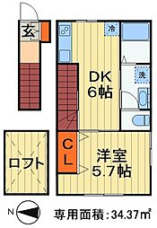 ナリトモ都賀A 2階1DKの間取り