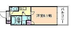 Osaka Metro堺筋線 南森町駅 徒歩3分の賃貸マンション 9階1Kの間取り