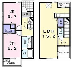 [テラスハウス] 神奈川県厚木市関口 の賃貸【神奈川県 / 厚木市】の間取り