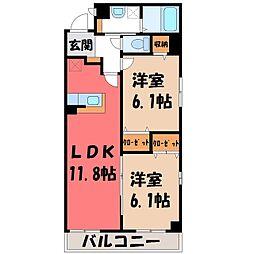栃木県栃木市柳橋町の賃貸マンションの間取り