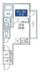 桜テラス哲学堂 2階ワンルームの間取り