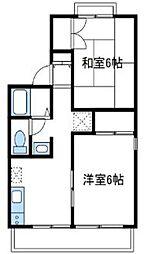 神奈川県厚木市下依知の賃貸アパートの間取り