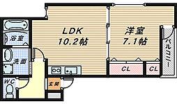 大阪府堺市堺区榎元町5丁の賃貸アパートの間取り