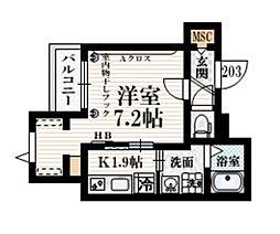 小田急小田原線 豪徳寺駅 徒歩4分の賃貸マンション 2階1Kの間取り