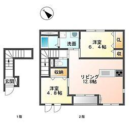 愛知県豊橋市つつじが丘3丁目の賃貸アパートの間取り