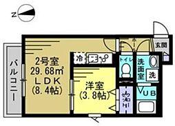 つくばエクスプレス 八潮駅 徒歩6分の賃貸アパート 2階1LDKの間取り