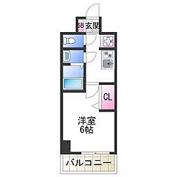 JR阪和線 美章園駅 徒歩9分の賃貸マンション 12階1Kの間取り