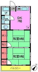 高橋荘[206号室]の間取り