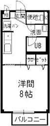 JR北陸本線 長浜駅 4.6kmの賃貸アパート 1階1Kの間取り