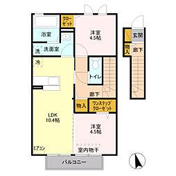 JR東北本線 東大宮駅 徒歩18分の賃貸アパート 2階2LDKの間取り