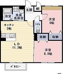 滋賀県栗東市北中小路の賃貸アパートの間取り