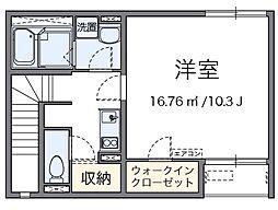 レオネクストヤマキII 2階1Kの間取り