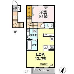 仮)D-room弥生町字松原 2階1LDKの間取り