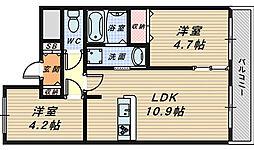 大阪府堺市堺区向陵中町1丁の賃貸マンションの間取り