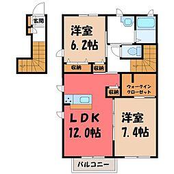 栃木県下野市下古山の賃貸アパートの間取り
