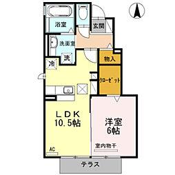 D−room三蔵子 A棟[1階]の間取り
